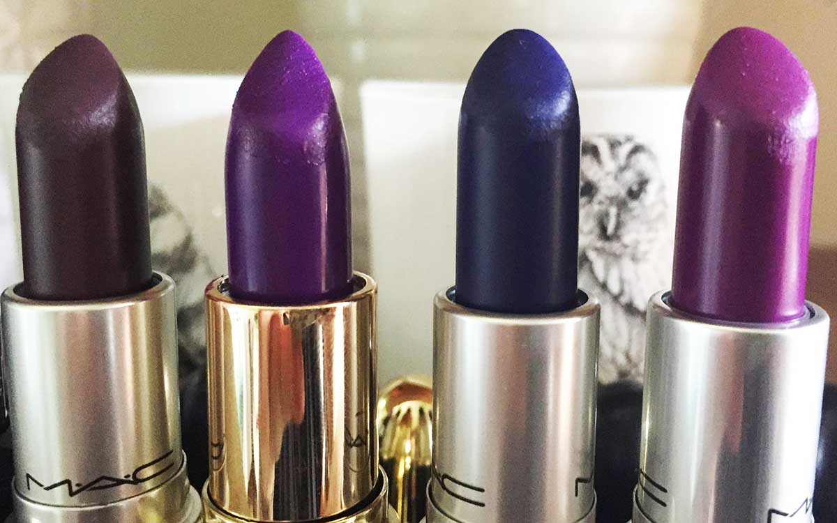 mac smoked purple, gerard cosmetics grape soda, mac matte royal, mac heroine